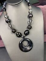 """Vintage Bohemian Beaded Black gold gray clear pendant necklace Signed Lucite 18"""""""