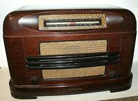 Antique 1946 Philco Model 46-132 Vacuum Tube Wood Wooden Radio Table Top FARM