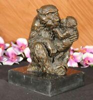 Vintage Bronze Silverback Gorilla Monkey Ape Baby Sculpture Statue Ornament Art
