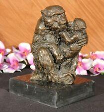 Art Deco Monkey Love Bronze Classic Wildlife Sculpture Marble Figurine Decorativ