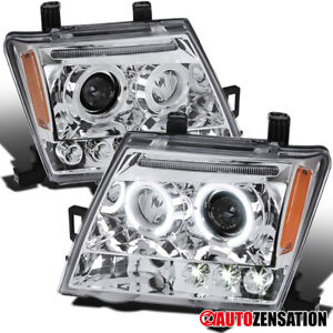 For 2005-2012 Nissan Xterra Clear LED Halo Projector Headlights Lamps Left+Right