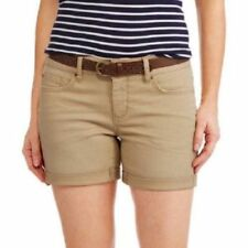 """Faded Glory Women's 4.5"""" Belted Shorts Size 12 Color khaki"""
