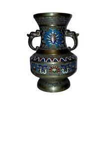 Antique Meiji Japanese Bronze Enamel Cloisonne/Champlevé Vase Pot Urn Patoon