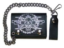SKULL MOTORCYCLE CHAIN TRIFOLD BIKER WALLET W CHAIN mens LEATHER #611 NEW