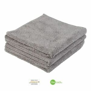 NORWEX BODY AND FACE CLOTHS SET OF 3 GRAPHITE SOLID MICROFIBER BACKLOC NEW