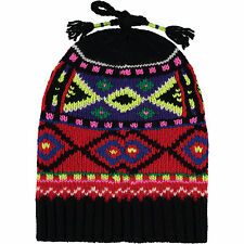New Ralph Lauren Black & Red Christmas Fairisle Woollen Knit Beanie. RRP. £140.