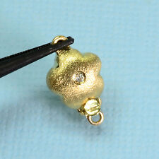 14k Solid Yellow Gold Diamond Doubled-sided Flower Clasp With 2 Rings
