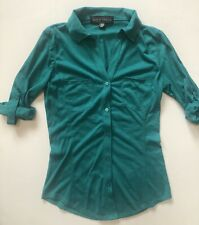 Almost Famous Juniors Roll Tab Sleeve Stretch Knit Button Top Shirt Teal Sz Xs