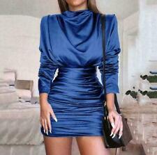 Women Long Sleeve Tight Blouse Shirts Ladies Slim High Collar Skirts Dress