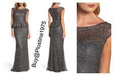 La Femme Embellished Lace Peplum Gown Gunmetal  Size :6