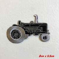 Farming Tractor Black Iron Sew on Embroidered Patch #1778