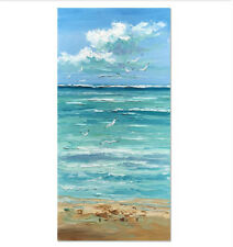 YA#725 Large Hand-painted Scenery oil painting Coast on canvas No Frame 24*48""