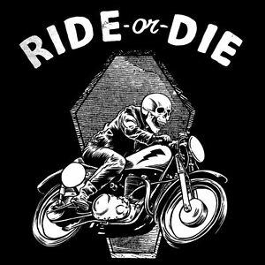 Ride or Die Old School Aufkleber Sticker Cafe Racer Bobber Ace Retro Skull #7