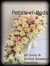 IVORY AND ORCHID ROSES TEARDROP 60 BUDS WEDDING  BOUQUET ARTIFICIAL SILK FLOWER