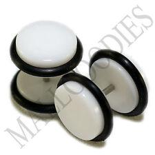 "2005 White Fake Cheater Illusion Faux Ear Plugs 16G Bar 7/16"" = 11mm BIG! 2pcs"