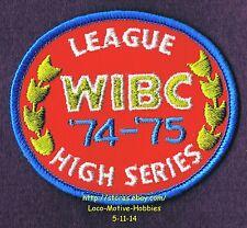 LMH PATCH Badge  '74 - '75 WIBC LEAGUE HIGH SCORE  Women's Bowling Award  USBC