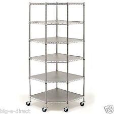 "Heavy Duty Wire Metal Steel 6-Tier Corner Storage Shelving 28"" x 18"" x 15"" x 72"""
