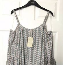 M&S Marks s18 Ladies Indigo Nude TilePrint ColdShoulder Kaftan Blouse Top BNWT