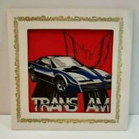 Vintage Trans Am Carnival Fair Glass Mirror Game Prize in Cardboard Frame Cool