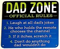 """DAD ZONE RULES - Small Home Decor Metal Plaque Sign  - 7"""" X 6"""" Great Dad Gift"""