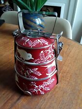 Enamelware Hand Painted Tiffin Lunchbox Camping Picnics Festivals Eco Storage