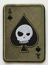 ACE OF SPADES DEATH SKULL CARD USA ARMY TACTICAL MORALE    PATCH  sk  437