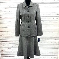 Anne Klein Women's 2PC Skirt Suit Gray Tweed Jacket Buttons Wool Blend Sz 10 NWT