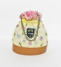 JC Penney PASTEL Pink Cream Floral Pearl HANDBAG Purse Ornament