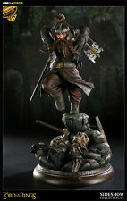EXCLUSIVE LOTR SIDESHOW GIMLI STATUE FIGURE BUST SET WITH ORC BASE DISPLAY RARE