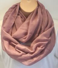 New For Spring Hint Of Sparkle Dusky Pink Circle Loop Scarf Infinity Snood