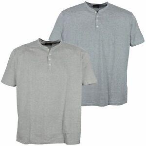 Kitaro T Shirt Stehkragen Henley Herren Kurzarm Grau Blau Baumwolle Plusgröße