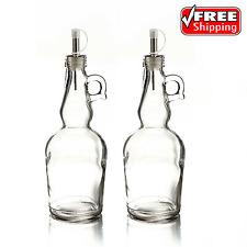 Glass Oil And Vinegar Bottle Cruet Dispenser With Pour Spout 17 Oz Set Of 2