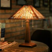 """Tiffany-Style Mission 2-Light Table Lamp w/16"""" Stained Glass Lampshade Home"""