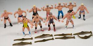 Vintage 1990 WCW Galoob lot of 11 Action Wrestling Figures & 8 belts FLAIR,STING