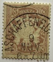 1900 BAVARIA 80 STAMP #71 WITH ASCHAFFENBURG SON CANCEL, BAYERN COAT OF ARMS