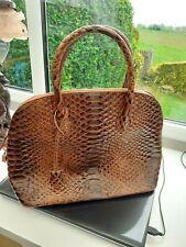 brown patent ladies mock croc leather handbag