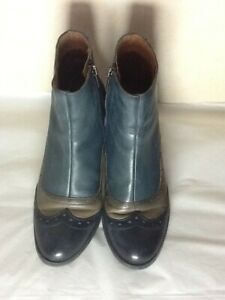 Ladies Pikolinos Two Tone Blue & Mink High Heel Ankle Boots Size 7.5