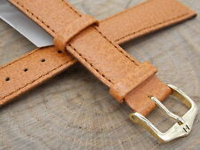 Honey Wild Boar 20mm Hirsch Mens Water Resistant Vintage Watch Band Gold Tn Bckl