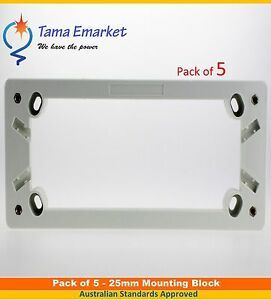 5 x 25mm Quad Mounting Block for 4 Gang Power Point GPO Electrical Outlet Socket