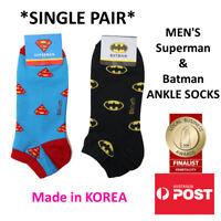Men's Superhero Ankle Socks in Batman, Superman SINGLE PAIR MADE IN KOREA