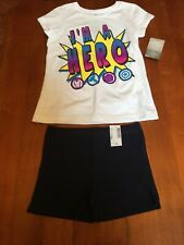 Girls Outfit Disney I'm A Hero Top W/ Children Place Skate Shorts Lg 10/12 Nwt