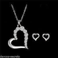 3pc ladies silver drop earrings necklace heart stud gift new jewellery set N23