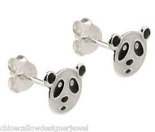 1x Pair of 925 Sterling Silver Panda Bear Ear Studs Earrings + gift bag