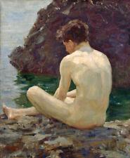 July Sun, Boy Bathing by Sea HENRY SCOTT TUKE fine ART CANVAS print