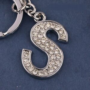 """Diamante Bling Fashion """"S"""" Alphabet Letter Name Initial Key Ring Chain Gift Pres"""
