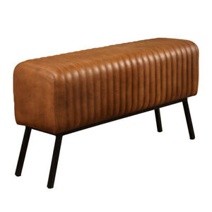 Tan Bench Black Heavy Iron Legs Handmade Genuine Real Leather Ribbed Stitching