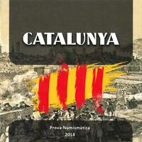 Cartera Set monedas euro en prueba Cataluña 2014 Catalunya coins trial