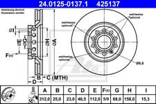 2x Bremsscheibe für Bremsanlage Vorderachse ATE 24.0125-0137.1