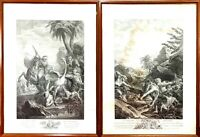 THE HUNT OF THE CROCODILE AND THE OSTRICH. ENGRAVINGS. FRANCE. SPAIN. XVIII-XIX