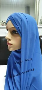 Turban Hijab Criss Cross Bonnet Lycra Stretchy Pull on Ready Made jersey chiffon